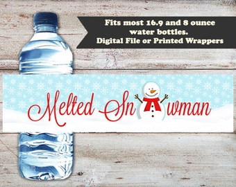 Melted Snowman Water Bottle Labels, Melted Snowman Water Wrapper, Snowman Water Labels, Holiday Water Bottle Wrappers, INSTANT DOWNLOAD