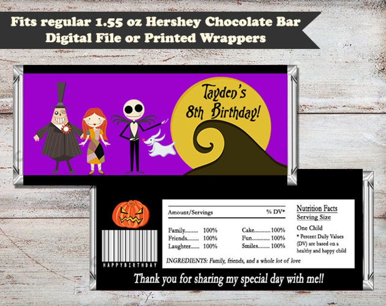 Nightmare Before Christmas Candy Bar Wrapper Jack Candy Bar image 0