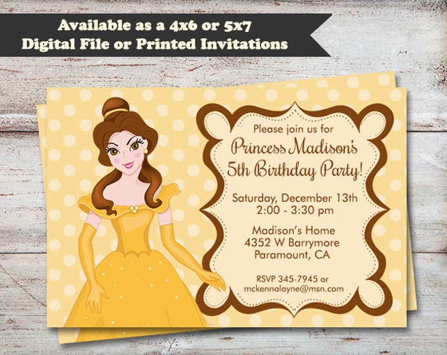 Princess belle birthday party invitations beuty and the beast etsy image 0 filmwisefo