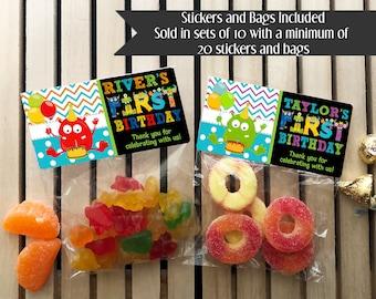 Monster First Birthday Party, Little Monster Treat Bags, Monster 1st Birthday Treat Bags, Monster Party Favors, 1st Birthday Favors