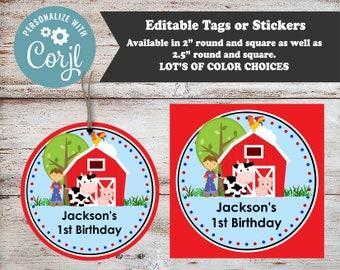 Editable Farm Animals Stickers, Farm Stickers, Personalized Stickers, Animal Stickers, Farm Favors, Farm Animal Favors, Farm Party Favors