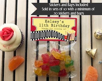 Movie Theater Party, Movie Party, Movie Party Favor, Movie Party Stickers, Hollywood Party, Theater Birthday, Birthday Treat Bags