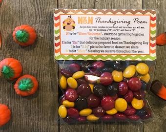 Thanksgiving Poem Favor Bags, Thanksgiving Poem Personalized Favors, Thanksgiving Poem Stickers, Thanksgiving Candy Bags, Thanksgiving Bags