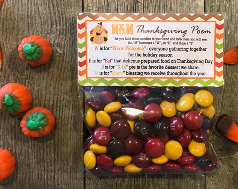 Thanksgiving Poem Favor Bags Thanksgiving Poem Personalized image 0