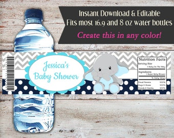 Editable Elephant Baby Shower Water Bottle Wrapper, Elephant Water Wrapper, Baby Shower, Birthday, Elephant Party Favor, Elephant