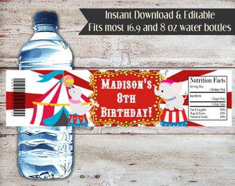 Editable Circus Water Bottle Wrapper, Carnival Water Bottle Wrapper, Carnival, Circus, Birthday, Baby Shower, Water Bottle Label