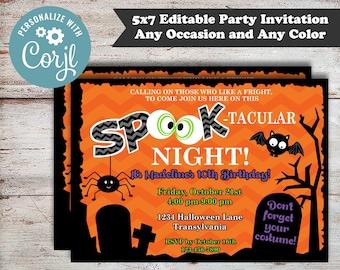 Editable Teen Halloween Invitation, Kids Halloween Invitation, Halloween Birthday Invitation, Spooktacular Halloween Invitation, Digital