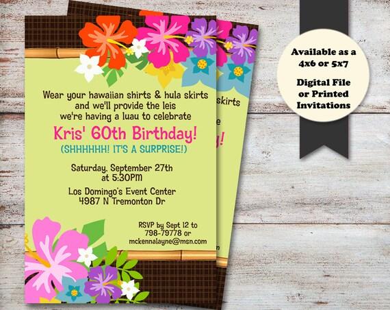 Luau Party Invitations Birthday Baby Shower Summer
