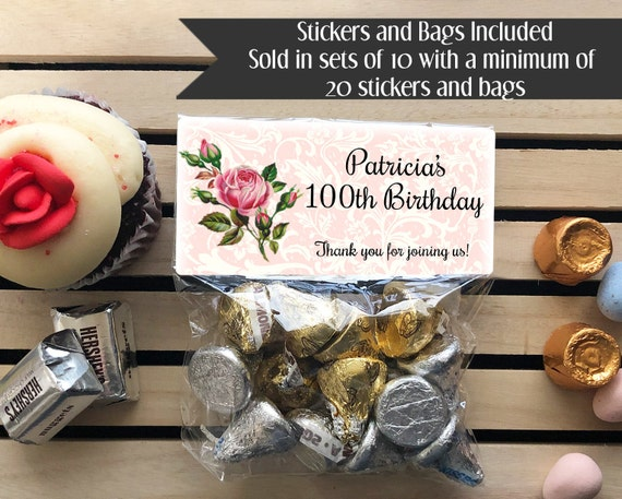 80th Birthday 90th 100th Milestone Treat Bags Stickers And Party Favors
