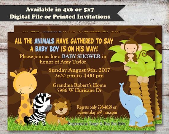 Safari Baby Shower Invitations Giraffe Print Jungle Baby Shower