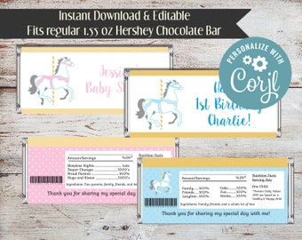 Editable Carousel Party, Carousel Candy Bar Wrappers, Carousel Candy Wrappers, Horse Candy Bar Wrapper, Carousel, Instant Download