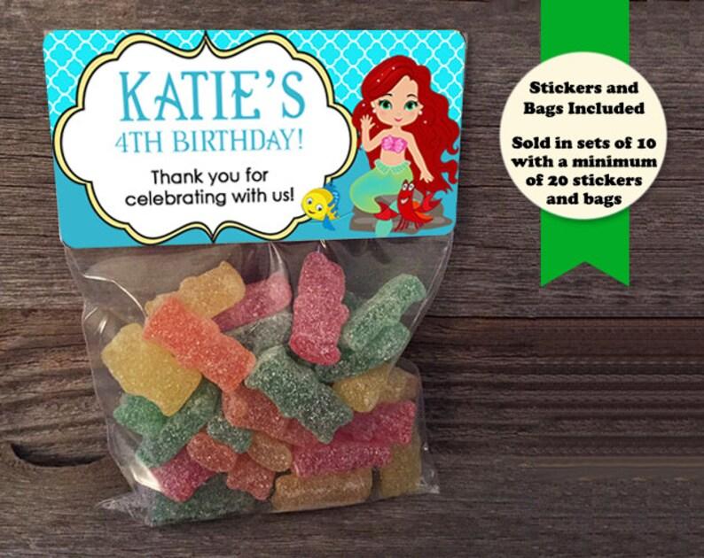 Little Mermaid Favor Bags Little Mermaid Stickers Princess image 0