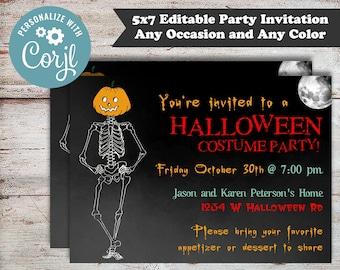 Editable Skeleton Halloween Invitation, Halloween Birthday Invitation, Adult Halloween Party Invitation, Digital File, Instant Download