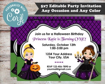 Editable Princess Halloween Party, Princess Party, Kids Halloween Party, Girls Halloween Party, Princess Birthday Party, Digital File