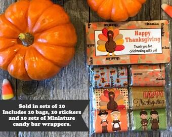 Thanksgiving Favor Bags, Thanksgiving Miniature Candy Wrappers, Thanksgiving Gifts, Thanksgiving Favors, Mini Candy Labels, Thanksgiving
