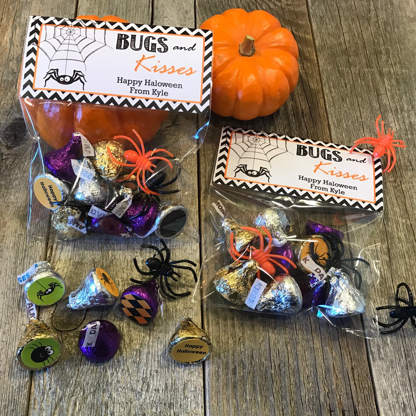 bugs and kisses halloween party bags halloween party favors | etsy