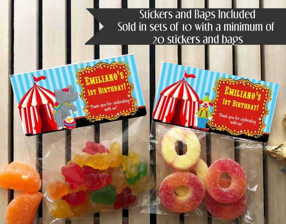 Party Bag 4 Thank You Personalised Circus Birthday Party Sweet Cones