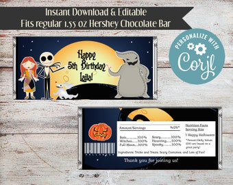Editable Nightmare Before Christmas Candy Bar Wrapper, Jack Candy Bar Wrapper, Halloween Candy Bar Wrapper, Party Favor, Digital File, DIY