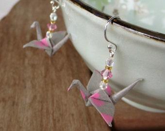 Gray & Pink Origami Earrings, Gray Pink Earrings, Cute Earring, Cute Jewelry, Kawaii Earring, Kawaii Jewelry, Gray Pink Jewelry