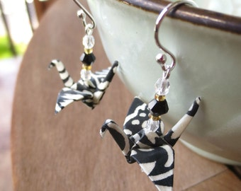 Black & White Origami Crane Earring, Black White Earring, Fun Earring, Bold Earring, Black White Jewelry, Origami Earring, Origami Jewelry