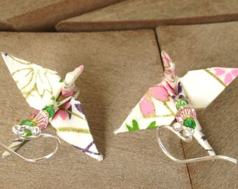 Origami Earring, Origami Jewelry, White Pink Green Earring, Asian Jewelry Japanese Jewelry Japanese Earring Cute white Earring Crane Earring
