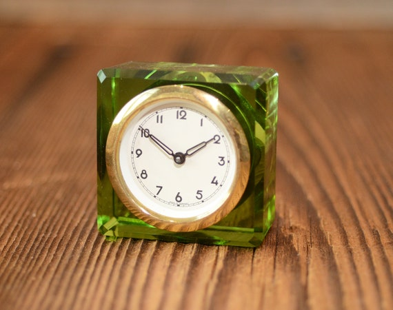 Antique Kaiser 1960,s glass case green color Germany antique clock  collectobless clock Working condition
