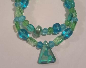 Blue and green beaded bracelets - set of 2 stackable bead bracelets handmade