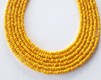 Yellow seed bead necklace - seed bead necklace - yellow necklace - yellow - necklace
