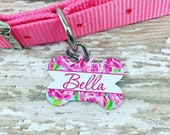 Double Sided Personalized floral bone shaped Pet Tag -Lilly Pulitzer Inspired - Pet Name Tag-Pet ID - dog tag - cat tag - fur baby