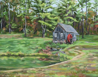 Oil Painting - Landscape Art - New England Barn - Mill - Water Wheel - Jeremy Schilling - New England Home Decor - Green Red- 8X10in Framed