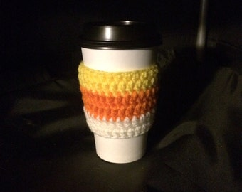 Candy Corn Crochet Cup Cozy, Coffee Sleeve