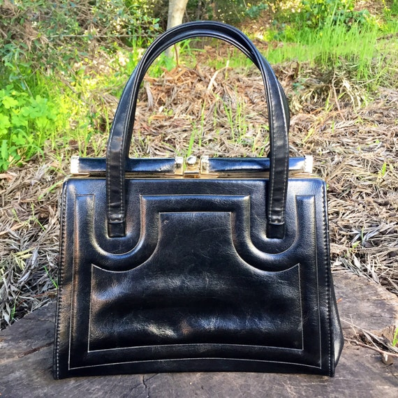 1950's Beautiful Black Leathet Handbag by JR Flori