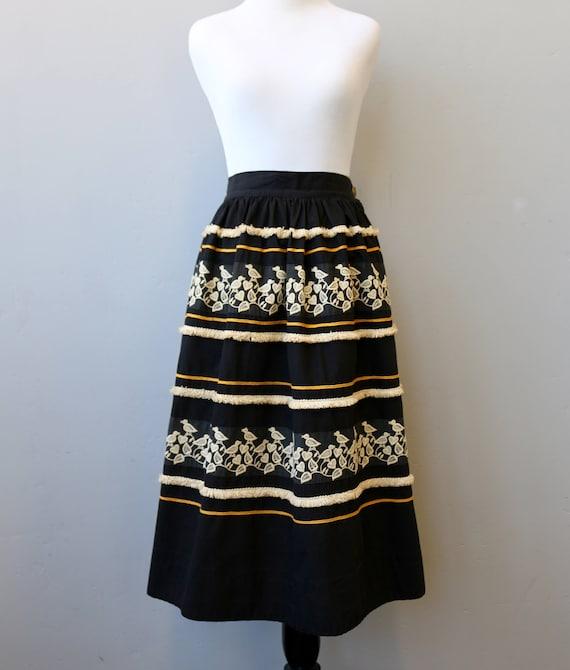 1949 Rare Dirndl Vintage Embroidered Peasant Black