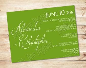 Green Apple Wedding Invitation Etsy