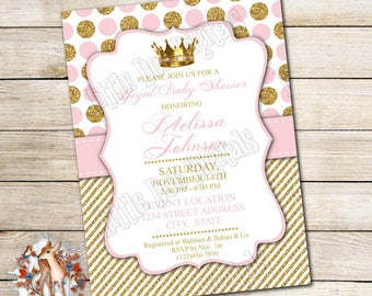 Princess baby shower invitations etsy personalized pink gold princess baby shower invitation digital file or printed copies royal invitation shower invite 5x7 or 4x6 filmwisefo