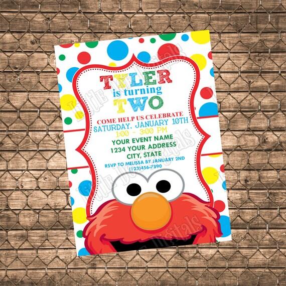 Personalized Elmo Birthday Party Invitation Digital File Or