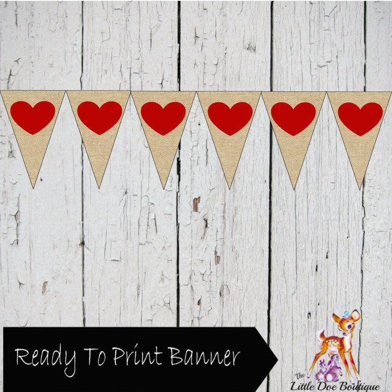 graphic relating to Printable Red Hearts referred to as Printable Burlap and Crimson Hearts Banner Pennant Signal Bunting