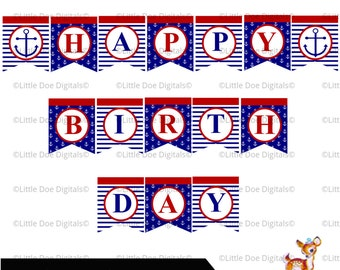 Instant Download Printable Happy Birthday Nautical Anchor Red And Navy Sign Bunting Pennant Banner