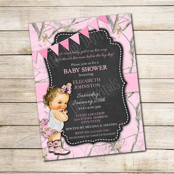 Personalized Pink Camouflage Baby Shower Invitation Digital Etsy