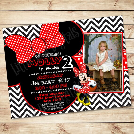 Personalized Minnie Mouse Themed Birthday Party Invitation