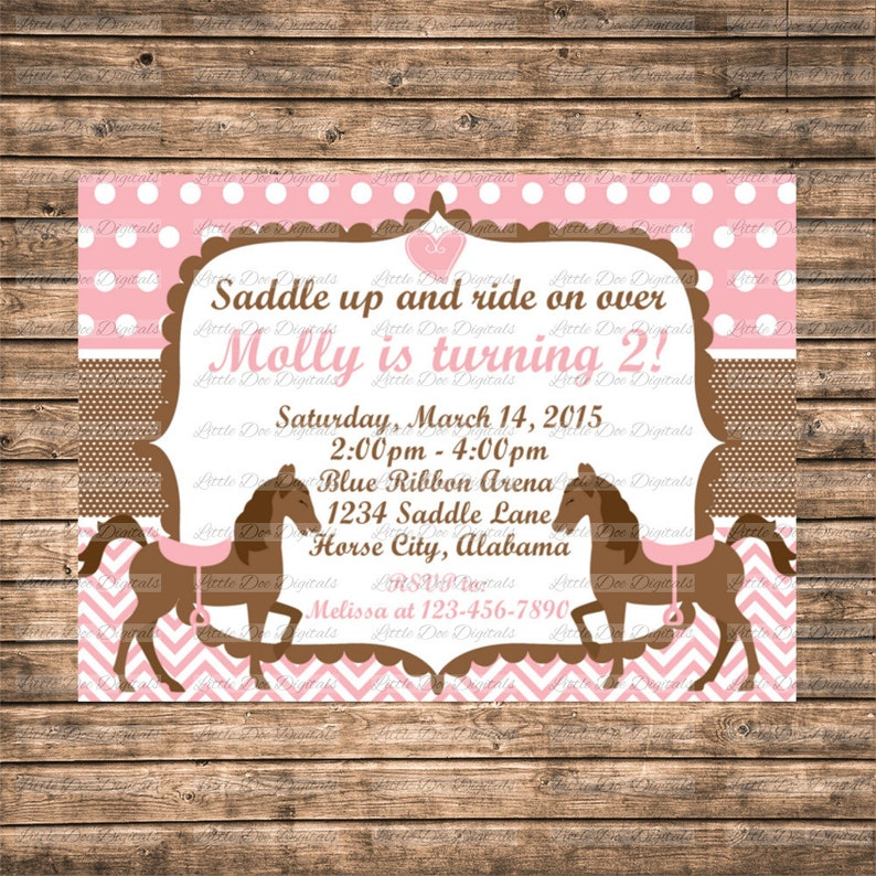 Personalized Pink And Brown Horse Themed Birthday Party