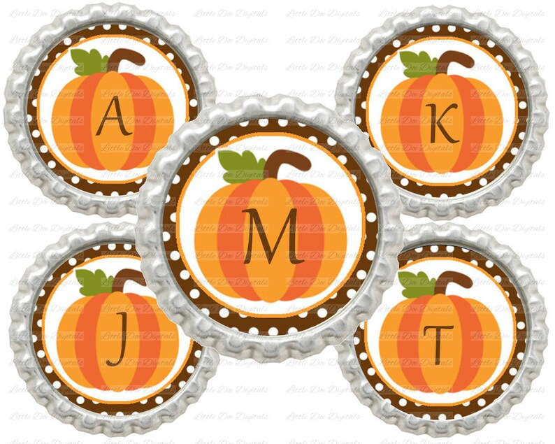 20/% OFF SALE Instant Download Fall Halloween Alphabet Letters Initials Pumpkin 1 Circle Bottle Cap Images