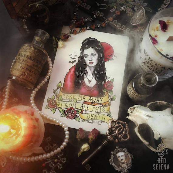 Bram Stoker Dracula Vampire Postcard Oldschool Tattoo Flash