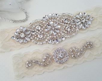5fbd3dcfb Wedding Garter - Bridal Garter - Crystal Rhinestone Garter and Toss Garter  Set - Style 795