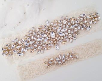 Golden bloom garter flower garter Gold wedding garter gold bridal garter