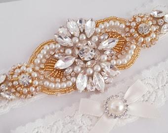 Wedding Garter Set, Bridal Garter set, Lace Garter set, Crystal Bridal Garter, Gold Wedding Garter, Gold Bridal Garter