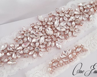 Wedding Garter Set, Bridal Garter set, Lace Garter set, Silver Crystal Garter, Rose Gold Bridal Garter