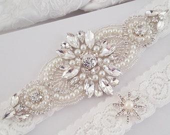 Wedding Garter Set, Bridal Garter set, Lace Garter set, Crystal Bridal Garter, Silver Wedding Garter, Gold Wedding Garter