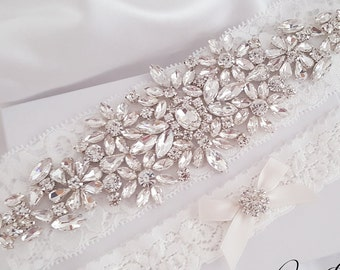Wedding Garter Set, Bridal Garter set, Lace Garter set, Crystal Bridal Garter, Silver Wedding Garter, Rose Gold Garter