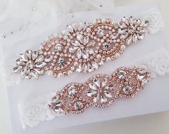 Bridal Garters Sets,Pearls And Rose Gold Rhinestones Garter,Stretch Navy Lace Bridal Garter Wedding Garters Sets   YS852913